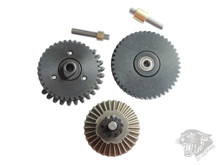 All parts view of 3mm Steel CNC Bearing Gear Set 100:200