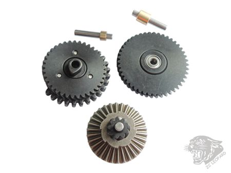 All parts view of 3mm Steel CNC Bearing Gear Set 100:300